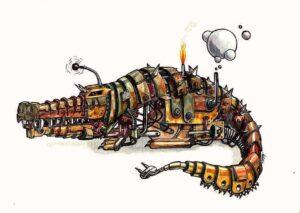 crocodile_robot_aquarelle_mmk_myriam_sitbon