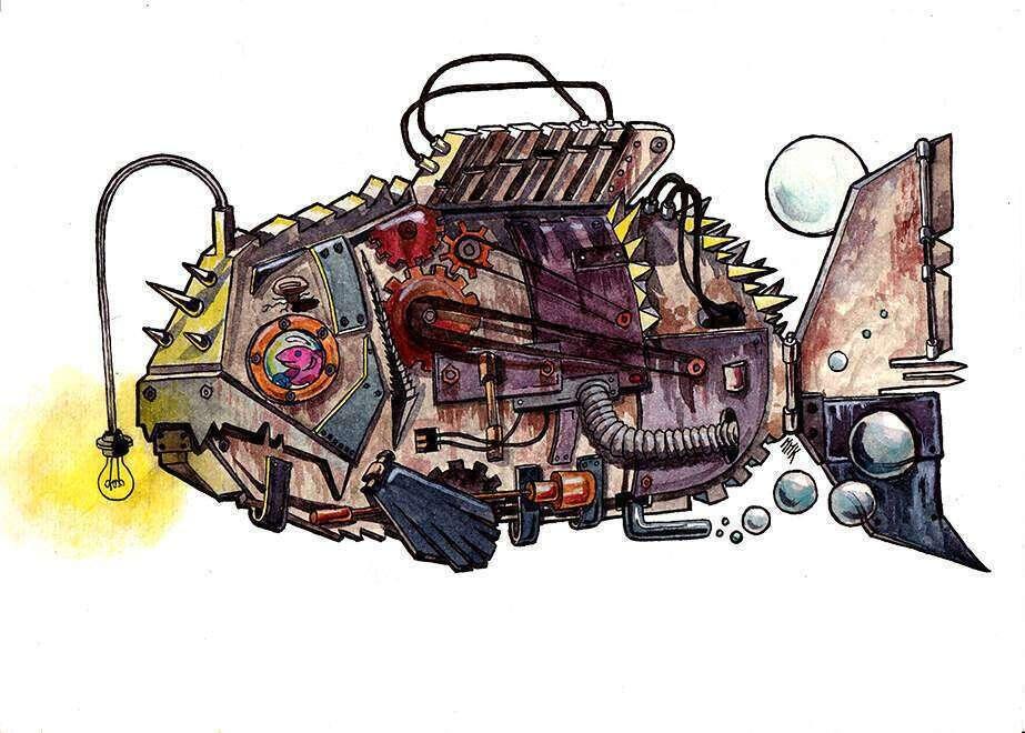 poisson_détouré_robot_aquarelle_mmk_myriam_sitbon