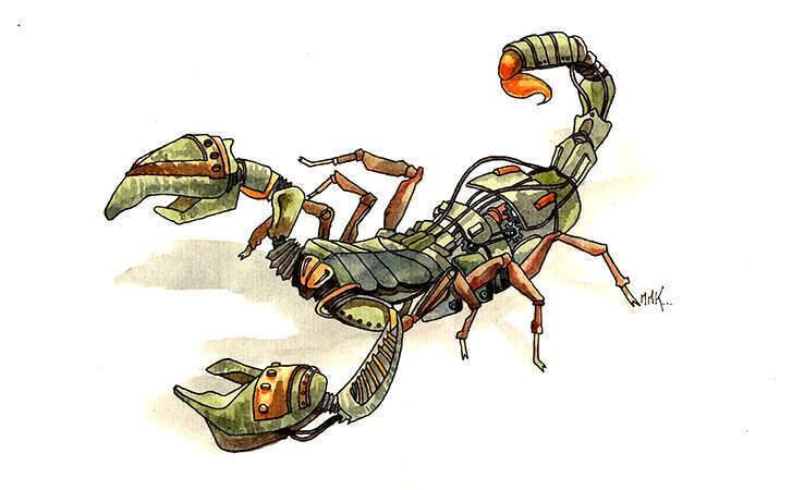scorpion_robot_aquarelle_mmk_myriam_sitbon